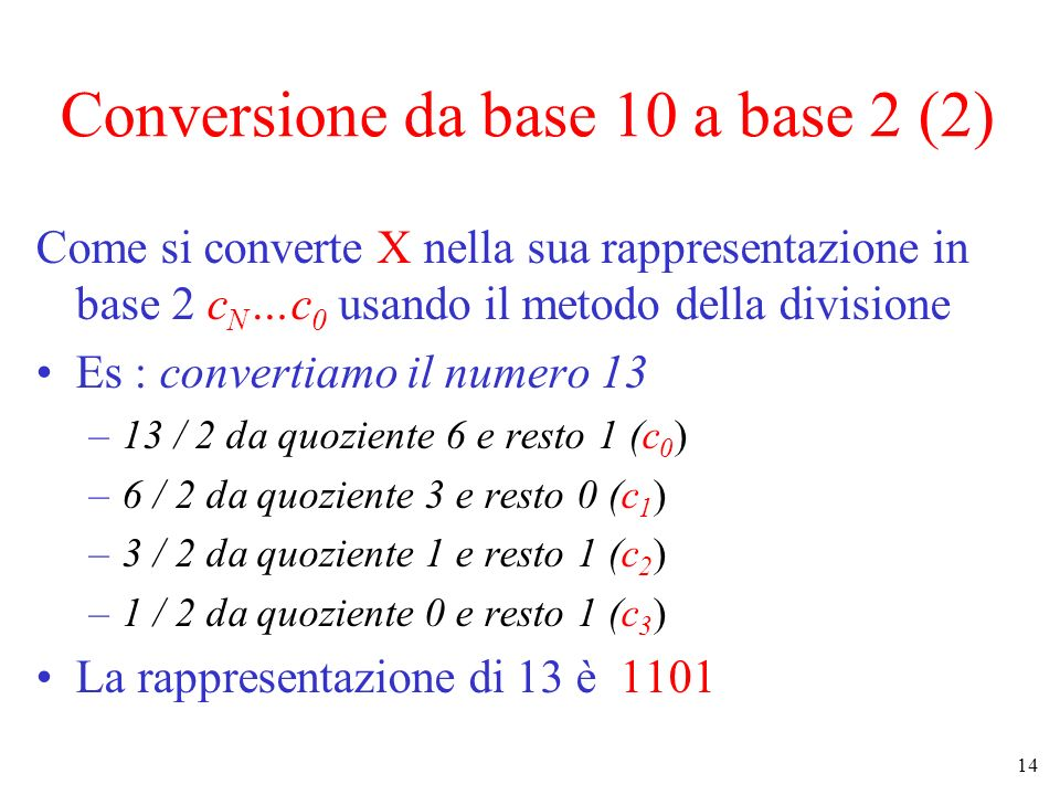 Conversione da base 10 a base 2 (2)