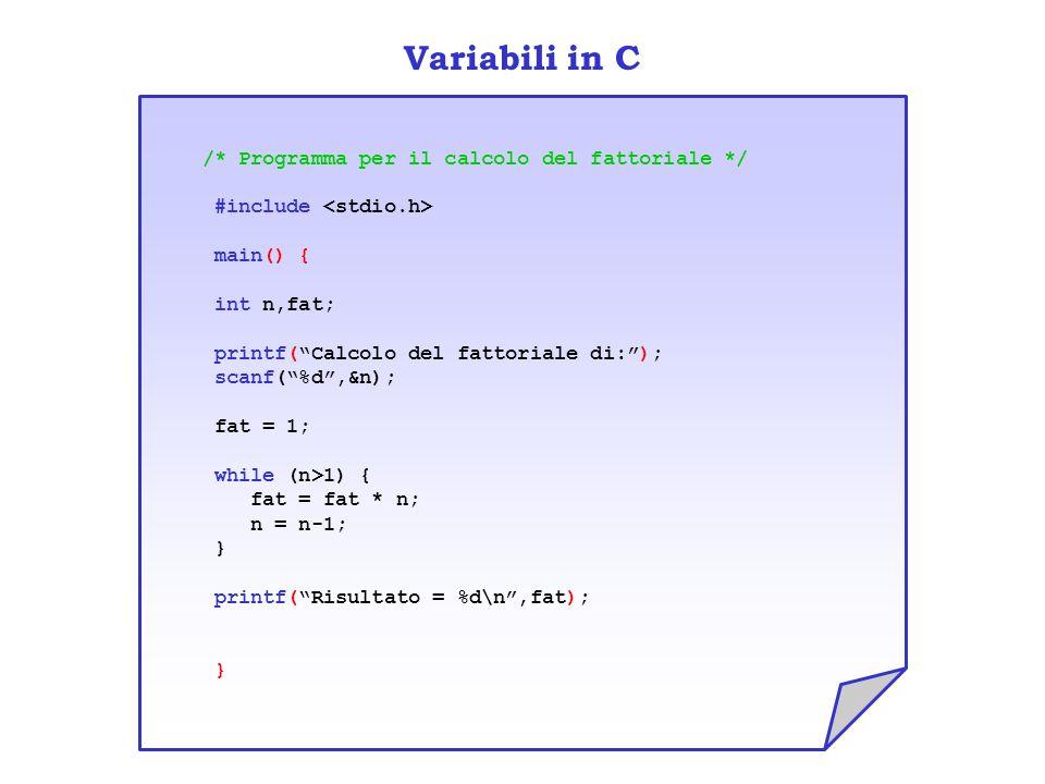 Variabili in C /* Programma per il calcolo del fattoriale */