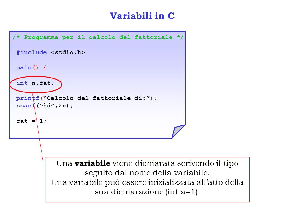 Variabili in C /* Programma per il calcolo del fattoriale */ #include <stdio.h> main() { int n,fat;