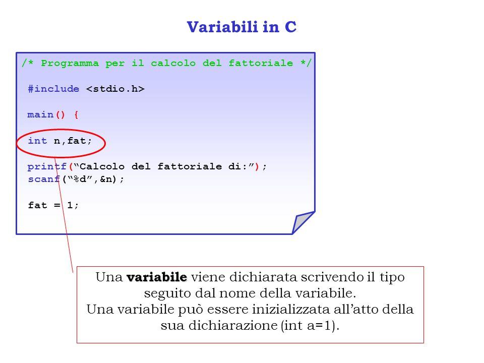 Variabili in C/* Programma per il calcolo del fattoriale */ #include <stdio.h> main() { int n,fat; printf( Calcolo del fattoriale di: );