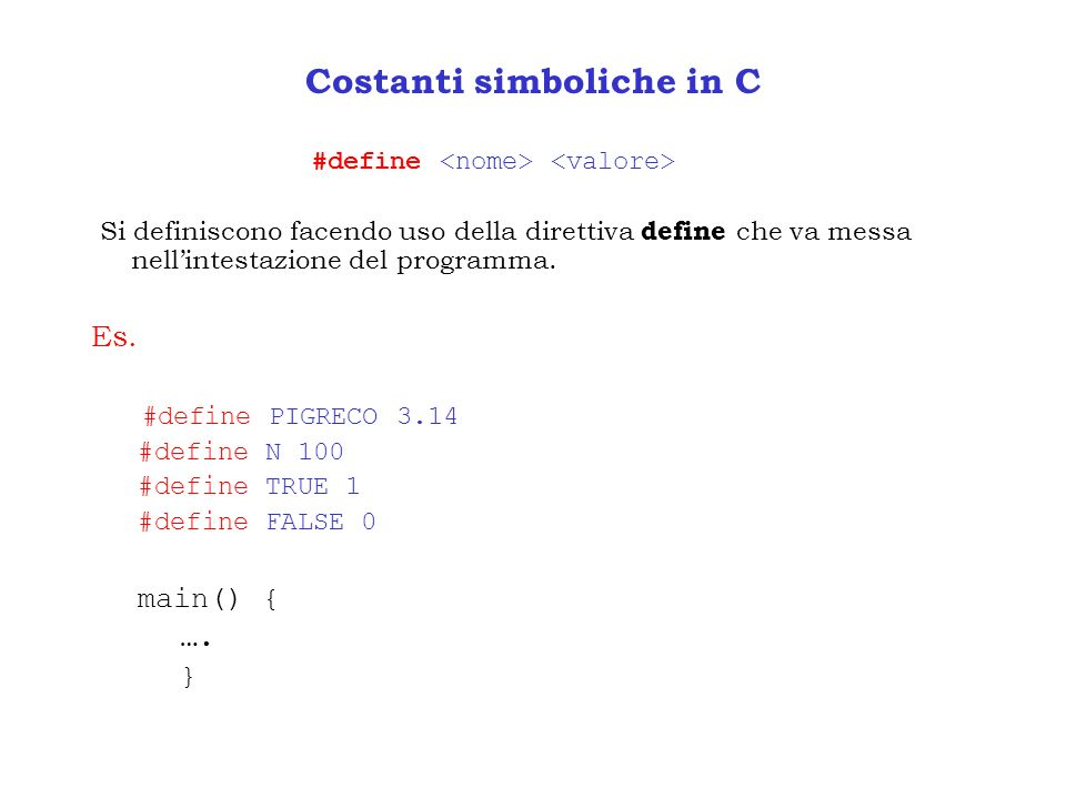 Costanti simboliche in C