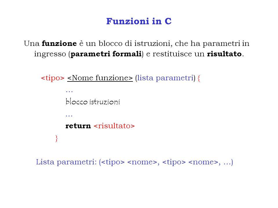 Funzioni in C Una funzione è un blocco di istruzioni, che ha parametri in ingresso (parametri formali) e restituisce un risultato.