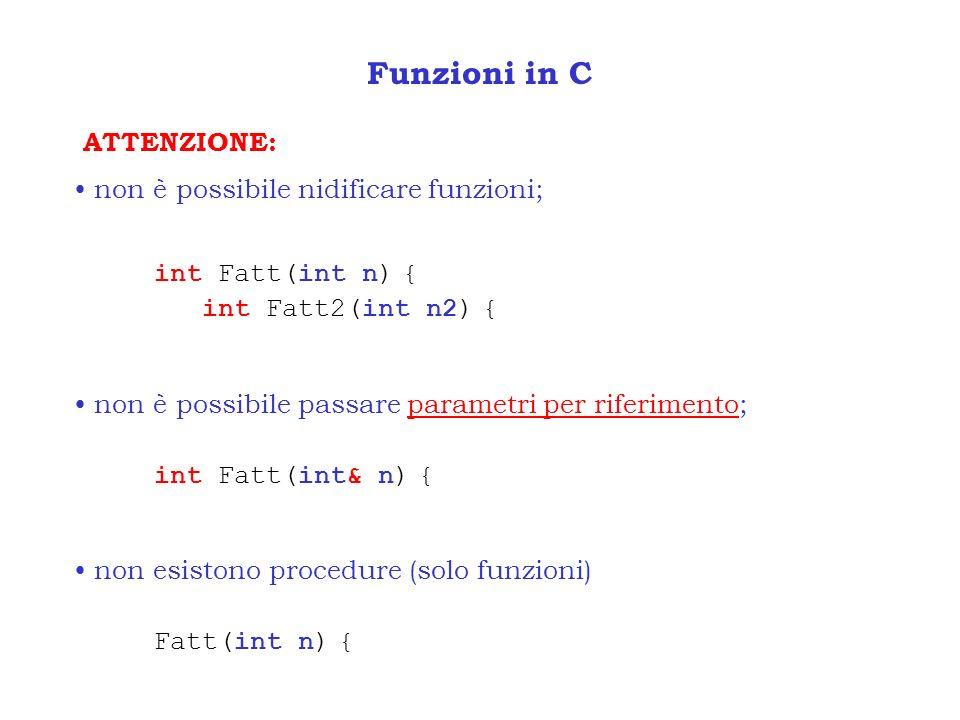 Funzioni in C ATTENZIONE: non è possibile nidificare funzioni;
