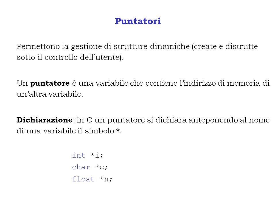 Puntatori Permettono la gestione di strutture dinamiche (create e distrutte sotto il controllo dell'utente).