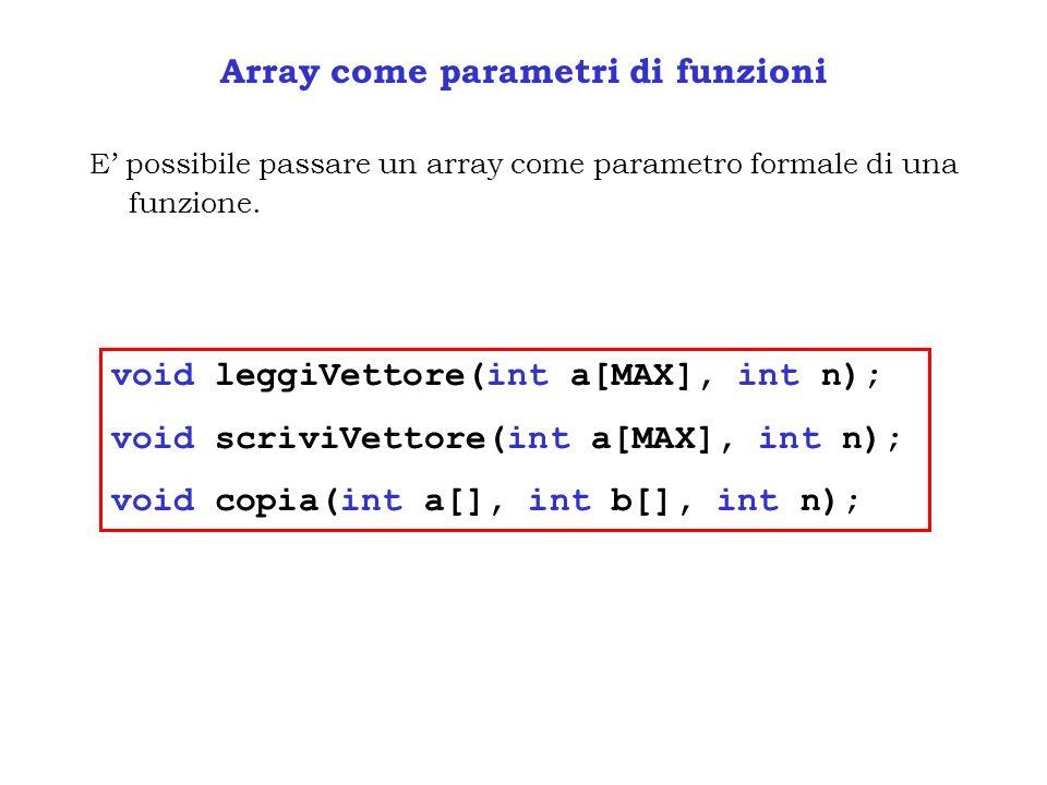 Array come parametri di funzioni
