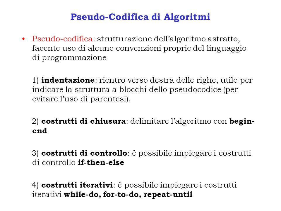 Pseudo-Codifica di Algoritmi