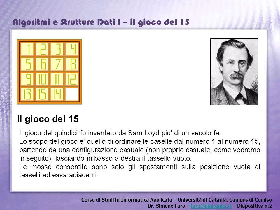 Il gioco del 15 Il gioco del quindici fu inventato da Sam Loyd piu di un secolo fa.