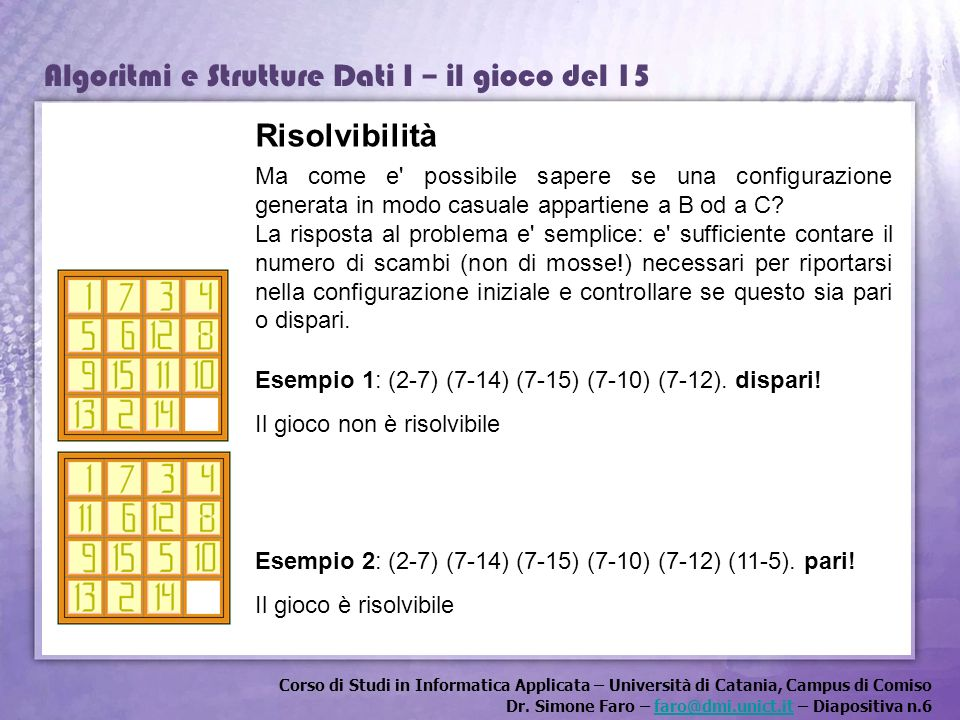 Risolvibilità Ma come e possibile sapere se una configurazione generata in modo casuale appartiene a B od a C