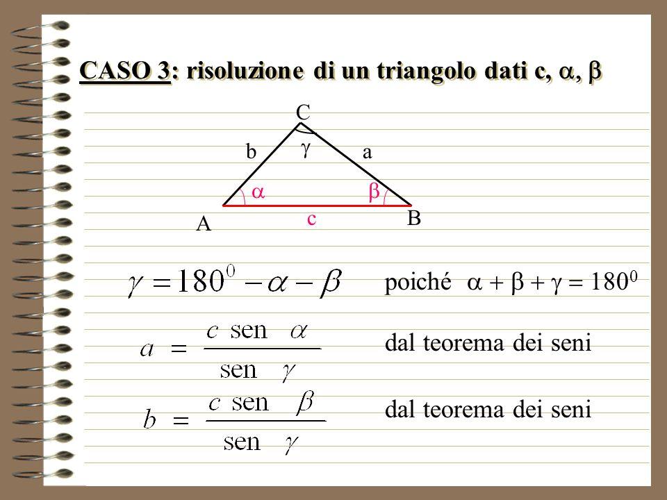 CASO 3: risoluzione di un triangolo dati c, a, b