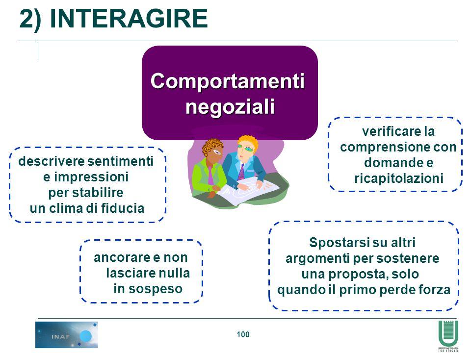 2) INTERAGIRE Comportamenti negoziali