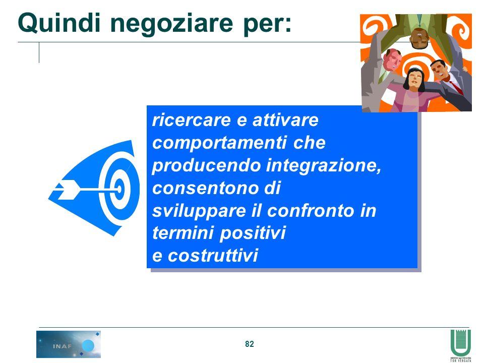 Quindi negoziare per: ricercare e attivare comportamenti che
