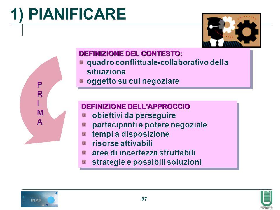 1) PIANIFICARE quadro conflittuale-collaborativo della situazione