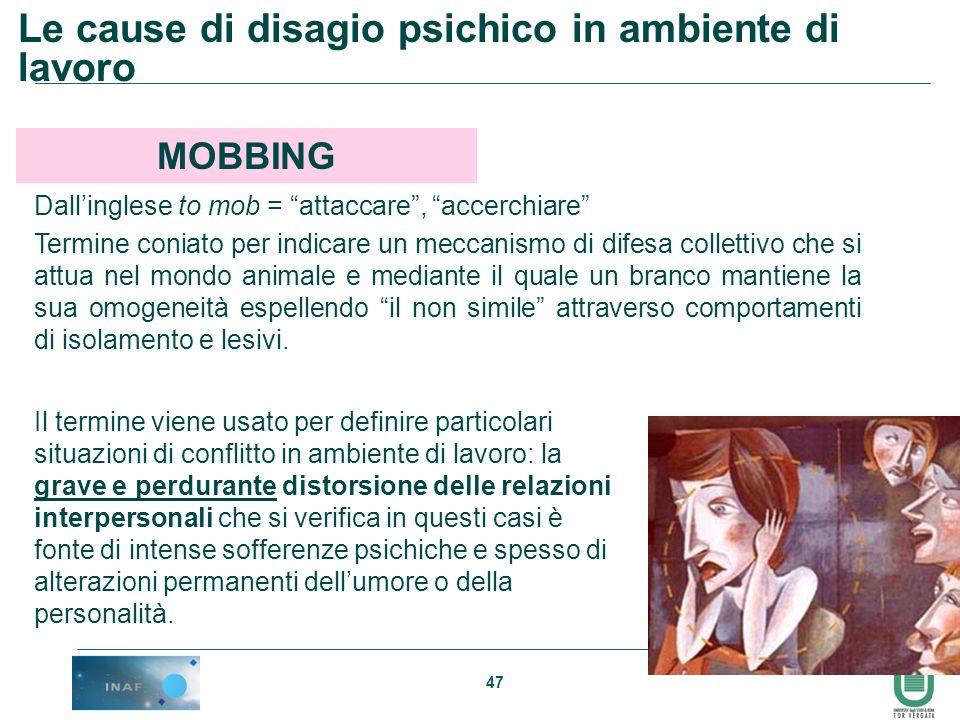 Le cause di disagio psichico in ambiente di lavoro