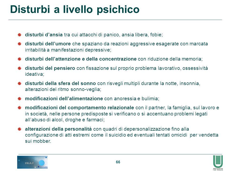 Disturbi a livello psichico
