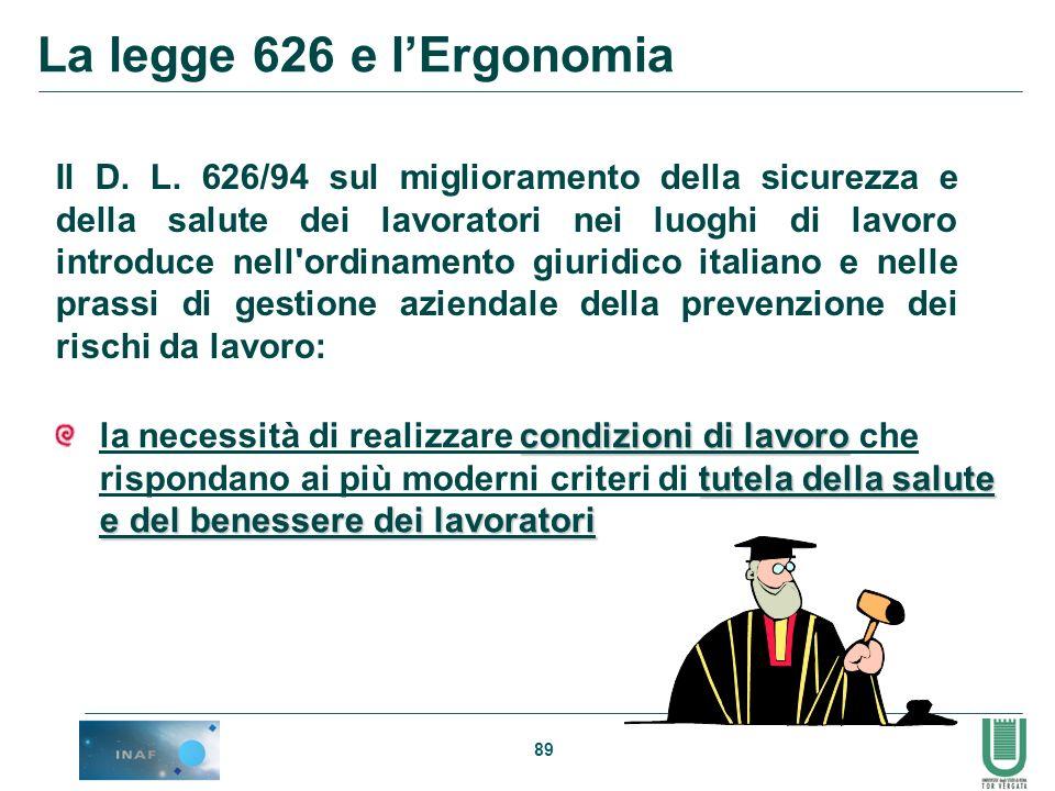 La legge 626 e l'Ergonomia