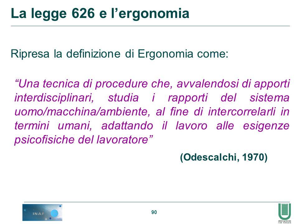 La legge 626 e l'ergonomia Ripresa la definizione di Ergonomia come:
