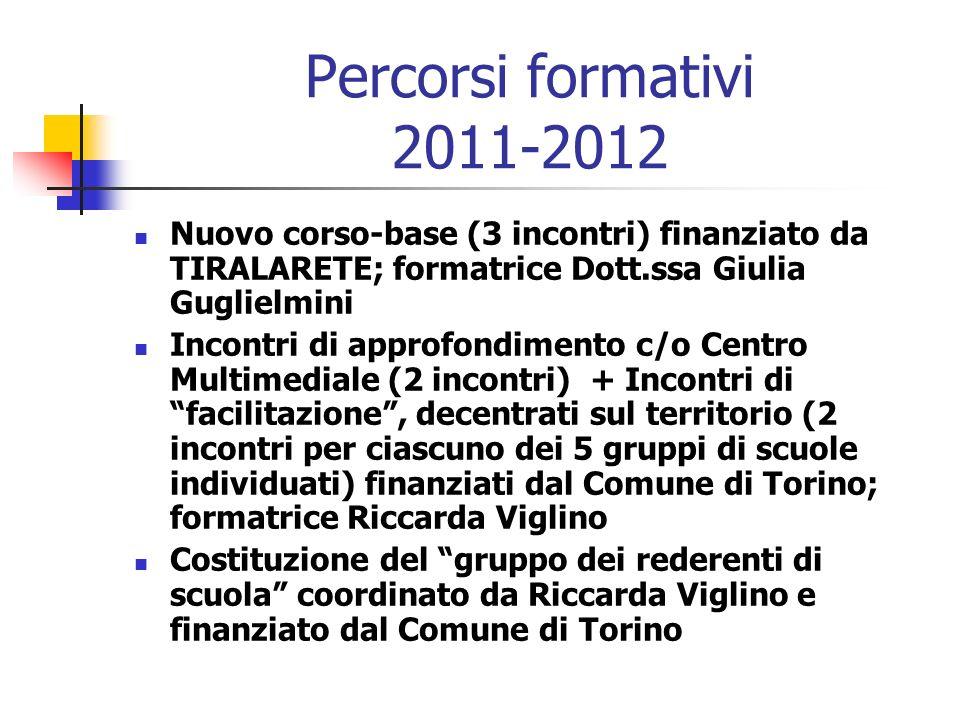 Percorsi formativi 2011-2012Nuovo corso-base (3 incontri) finanziato da TIRALARETE; formatrice Dott.ssa Giulia Guglielmini.
