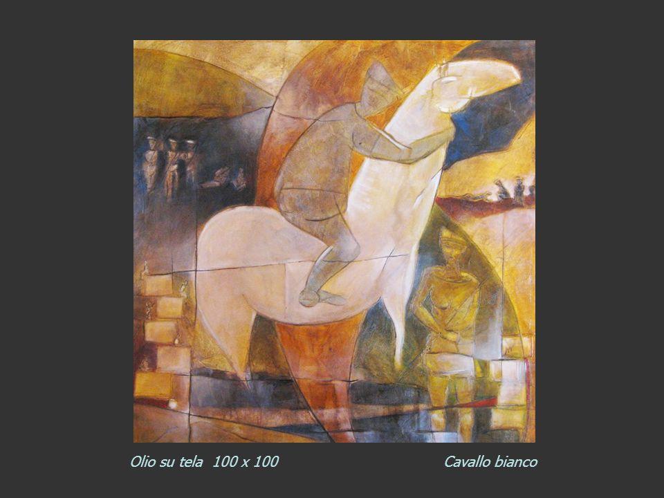 Olio su tela 100 x 100 Cavallo bianco