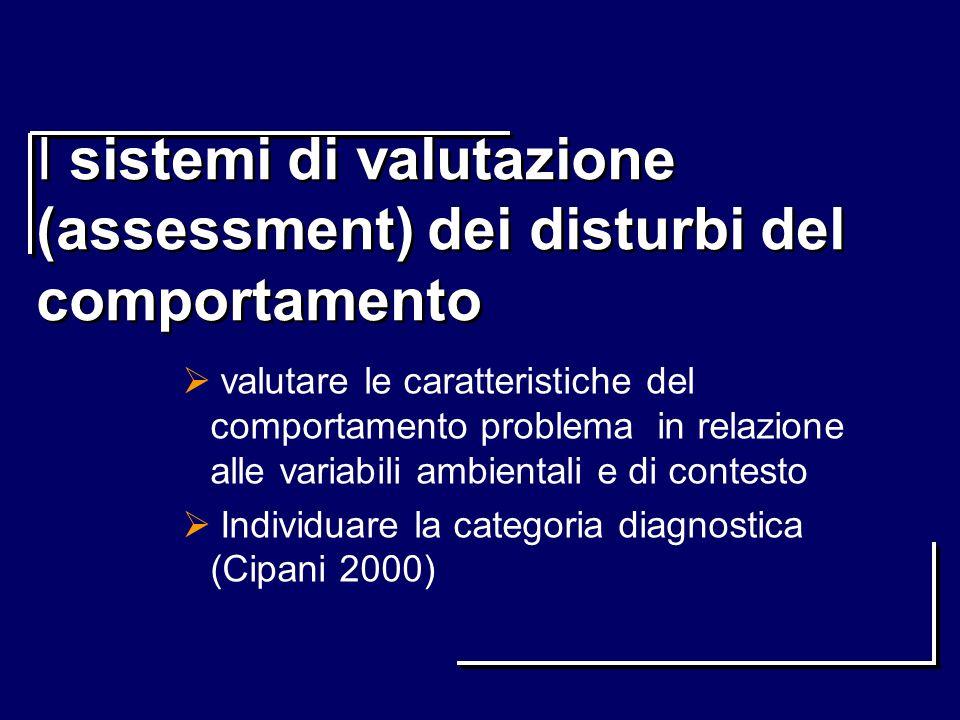 I sistemi di valutazione (assessment) dei disturbi del comportamento