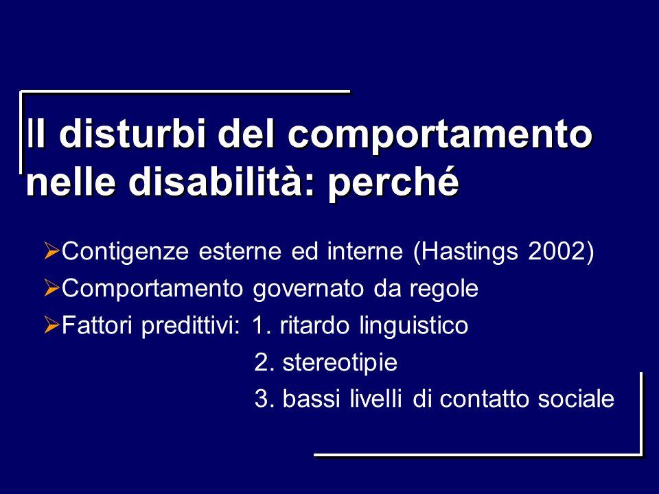 II disturbi del comportamento nelle disabilità: perché