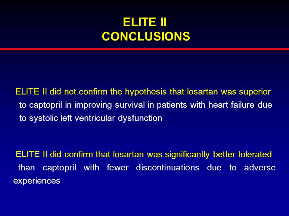 ELITE II CONCLUSIONS ELITE II did not confirm the hypothesis that losartan was superior.