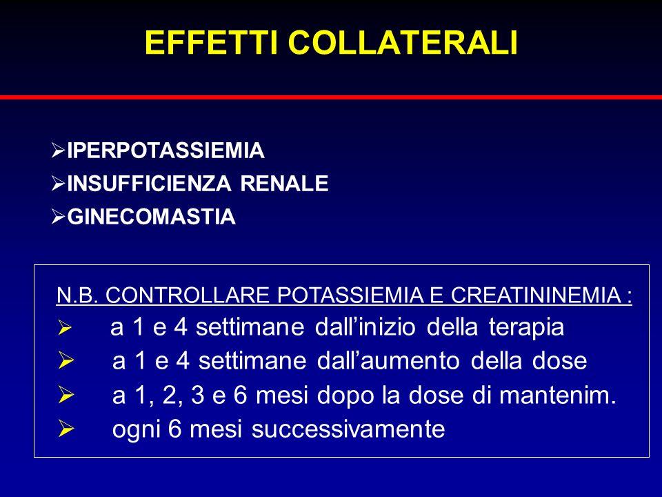 EFFETTI COLLATERALI a 1 e 4 settimane dall'aumento della dose