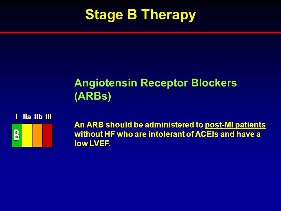 Stage B Therapy B Angiotensin Receptor Blockers (ARBs)