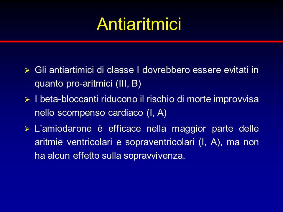 Antiaritmici Gli antiartimici di classe I dovrebbero essere evitati in quanto pro-aritmici (III, B)