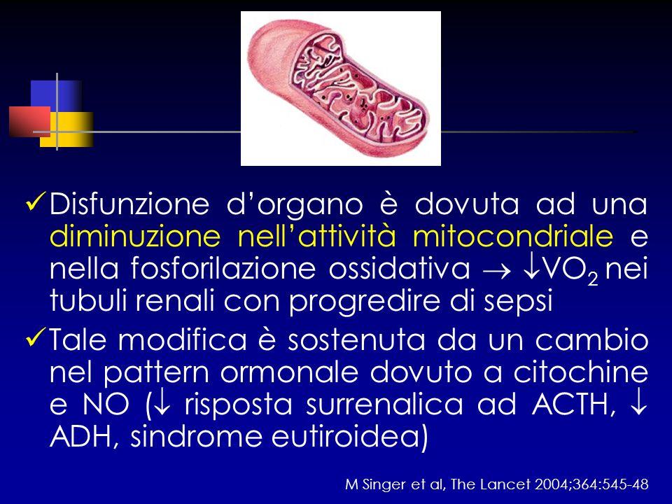 Disfunzione d'organo è dovuta ad una diminuzione nell'attività mitocondriale e nella fosforilazione ossidativa  VO2 nei tubuli renali con progredire di sepsi