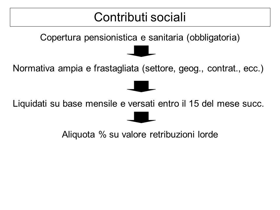 Contributi sociali Copertura pensionistica e sanitaria (obbligatoria)