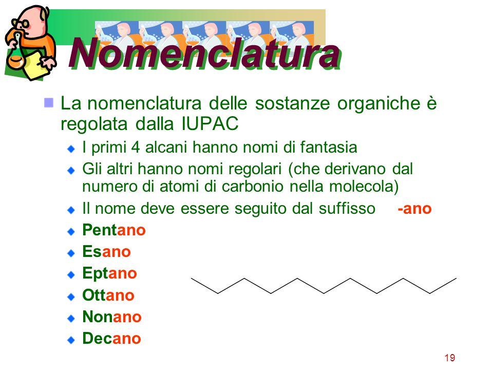 Nomenclatura La nomenclatura delle sostanze organiche è regolata dalla IUPAC. I primi 4 alcani hanno nomi di fantasia.