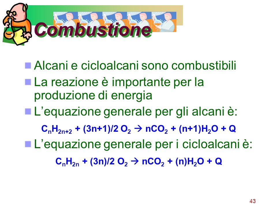 Combustione Alcani e cicloalcani sono combustibili