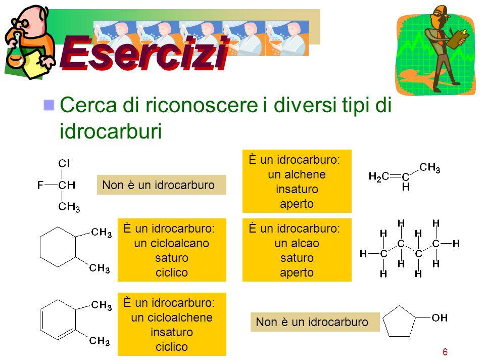 Esercizi Cerca di riconoscere i diversi tipi di idrocarburi