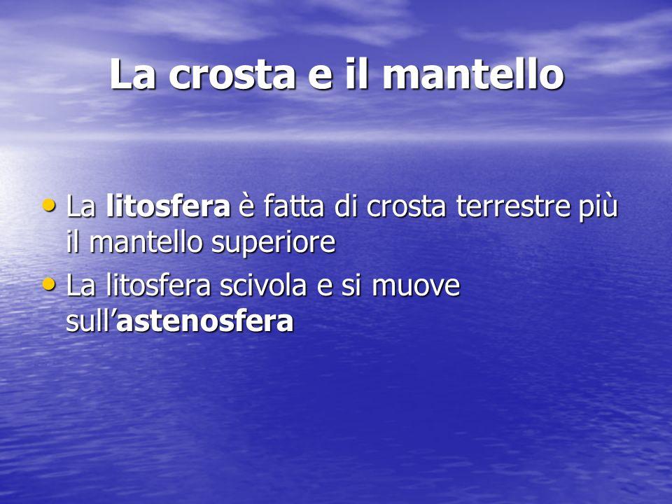 La crosta e il mantello La litosfera è fatta di crosta terrestre più il mantello superiore.