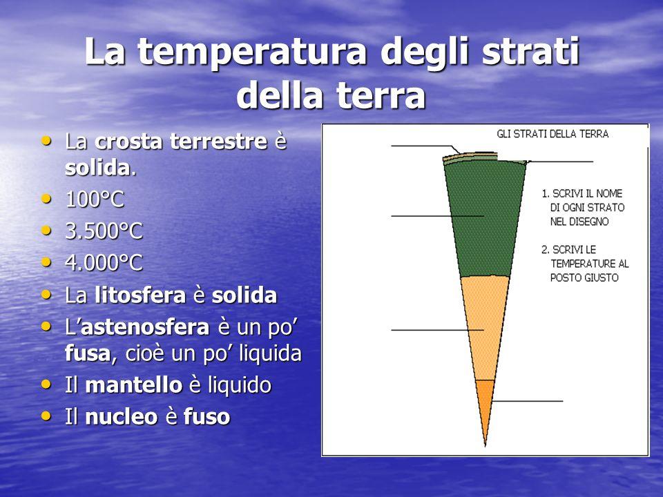 La temperatura degli strati della terra