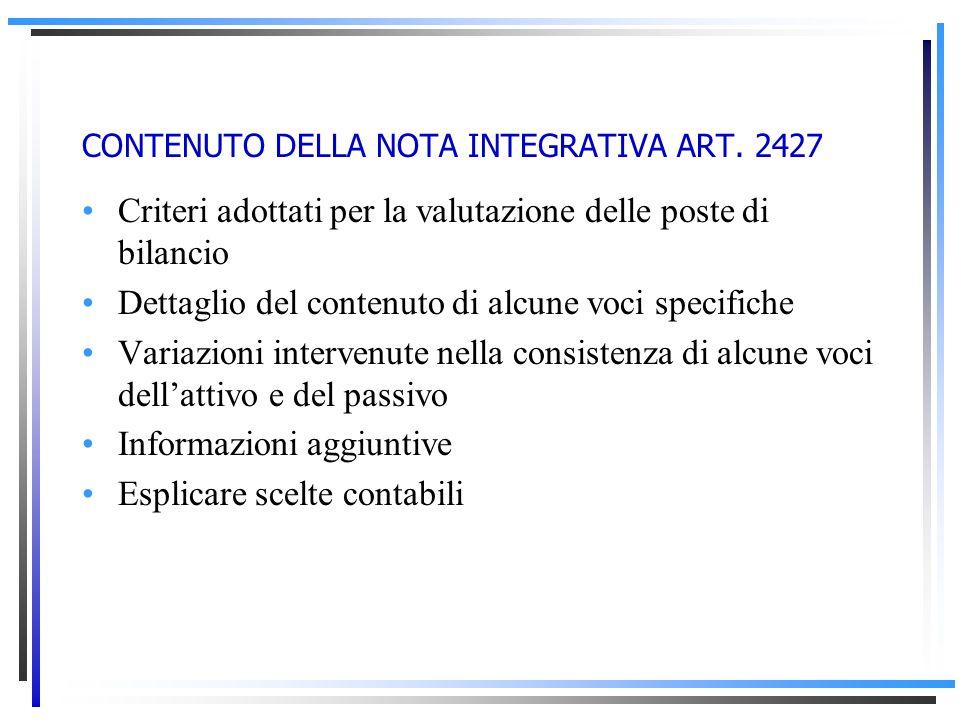 CONTENUTO DELLA NOTA INTEGRATIVA ART. 2427