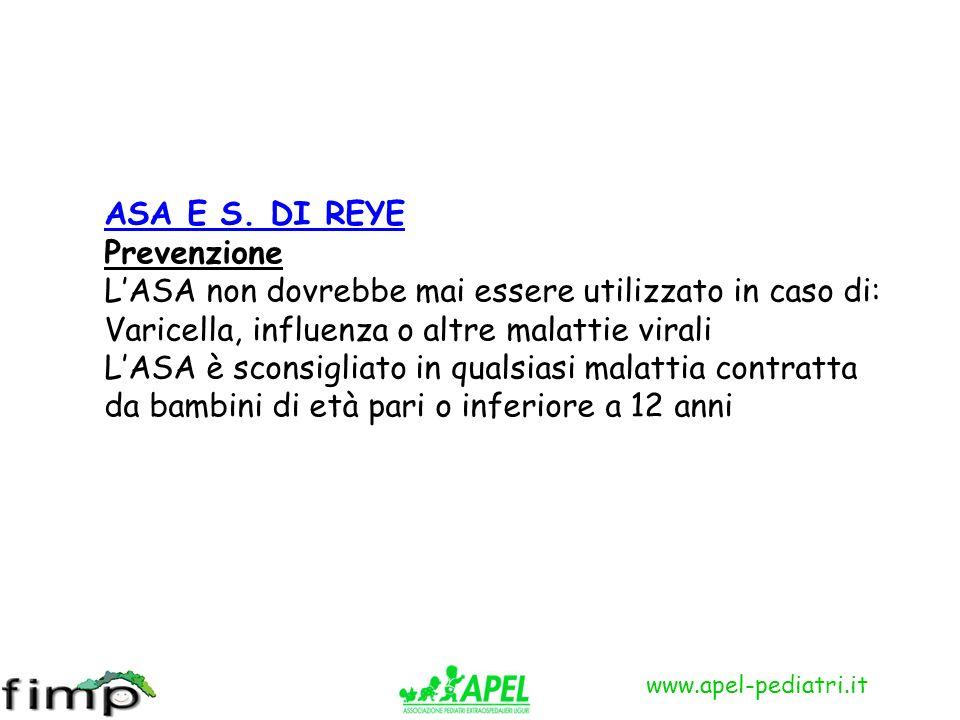ASA E S. DI REYE Prevenzione. L'ASA non dovrebbe mai essere utilizzato in caso di: Varicella, influenza o altre malattie virali.