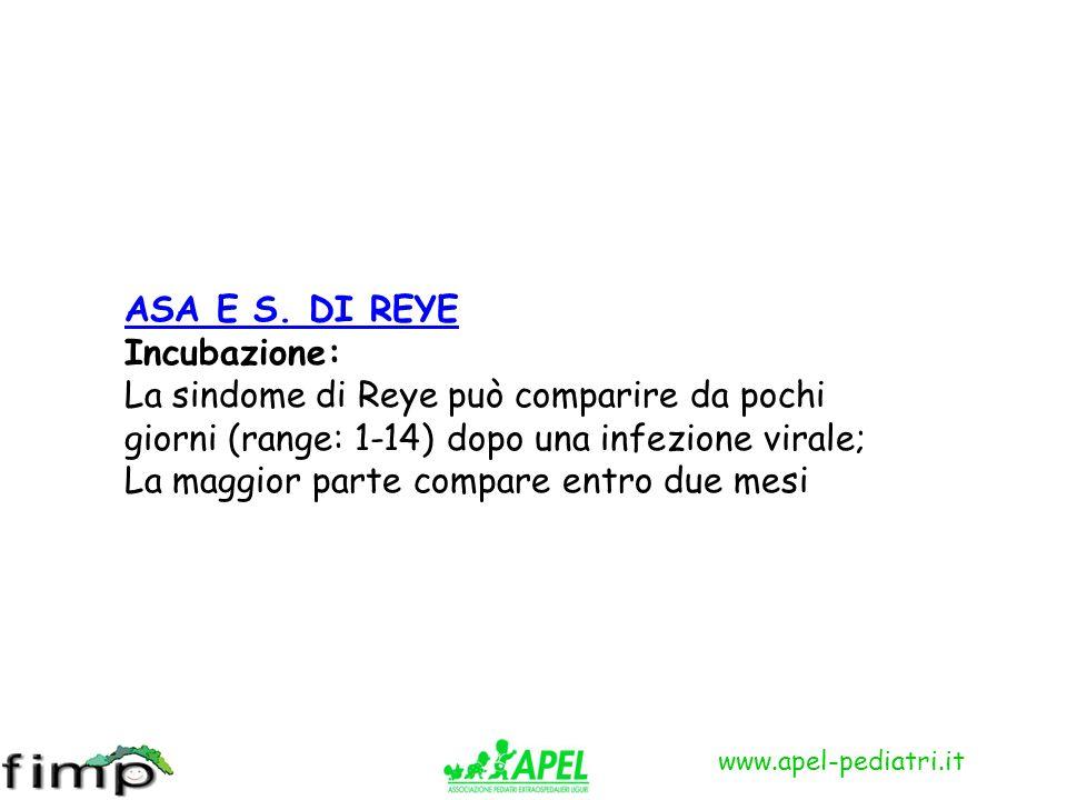 ASA E S. DI REYE Incubazione: La sindome di Reye può comparire da pochi giorni (range: 1-14) dopo una infezione virale;