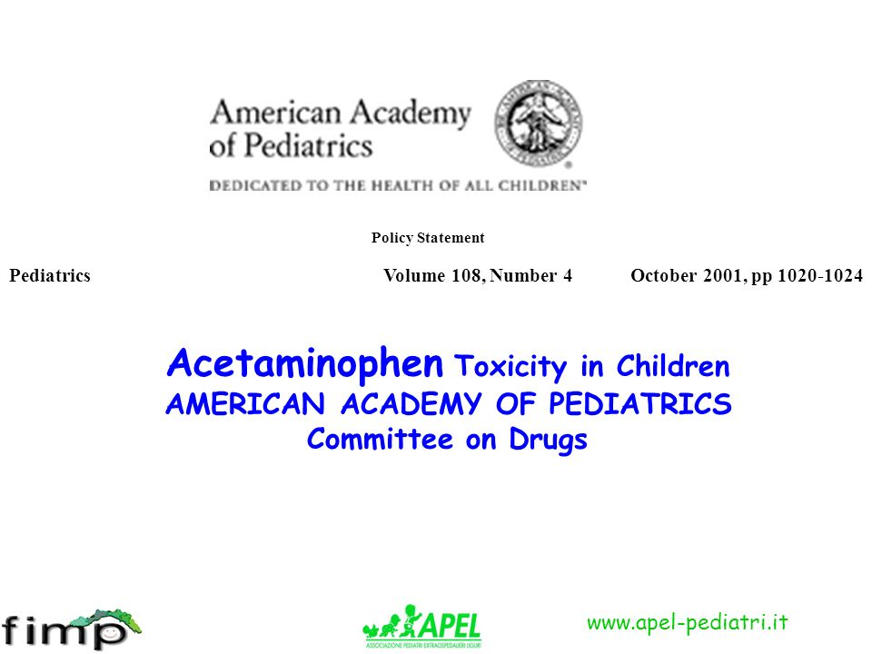 Acetaminophen Toxicity in Children AMERICAN ACADEMY OF PEDIATRICS