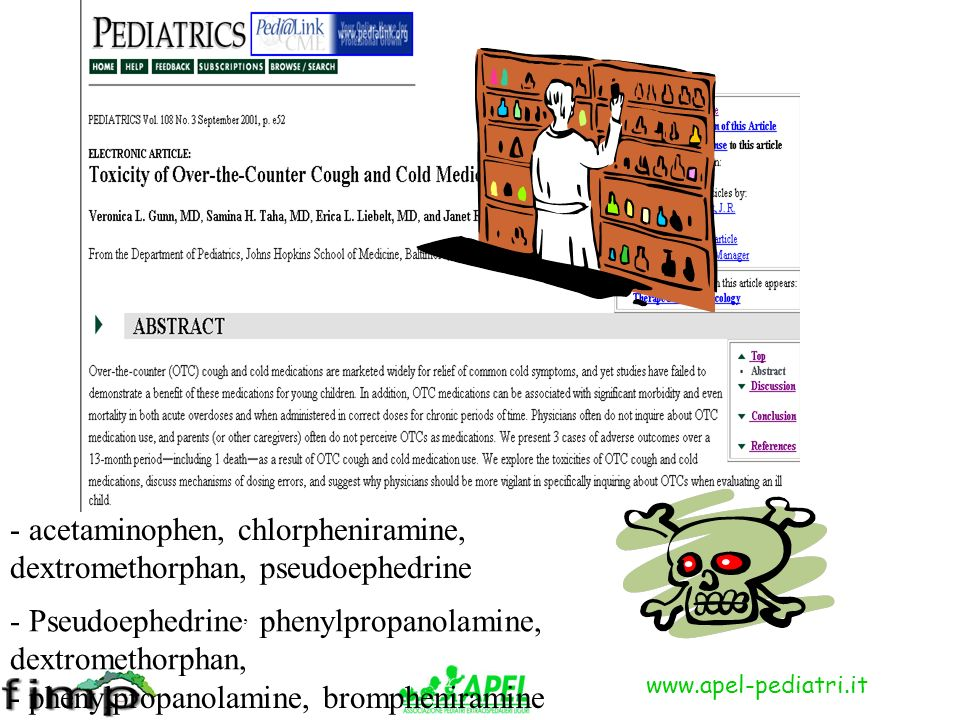 - acetaminophen, chlorpheniramine, dextromethorphan, pseudoephedrine