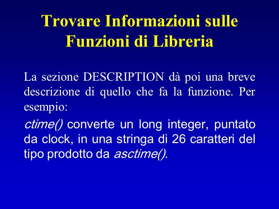 Trovare Informazioni sulle Funzioni di Libreria