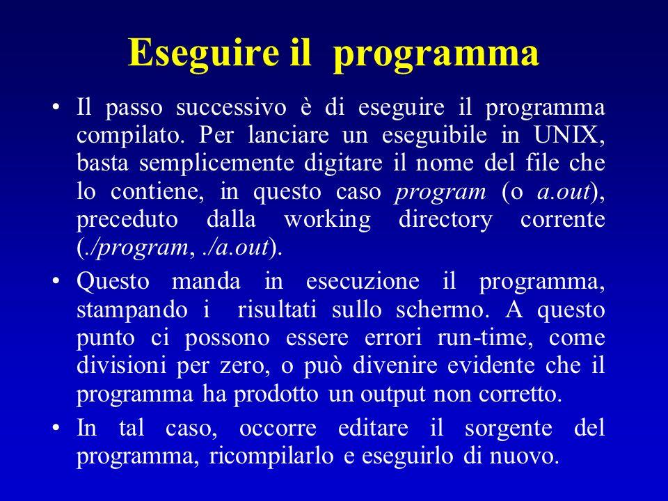 Eseguire il programma