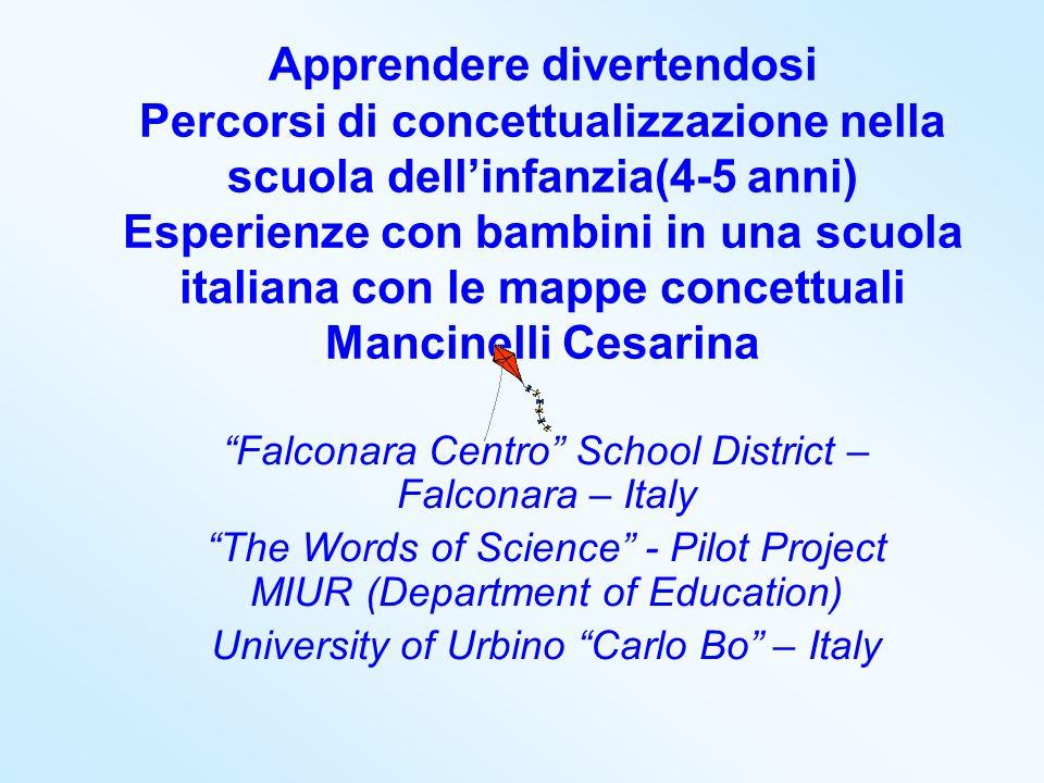 Apprendere divertendosi Percorsi di concettualizzazione nella scuola dell'infanzia(4-5 anni) Esperienze con bambini in una scuola italiana con le mappe concettuali Mancinelli Cesarina