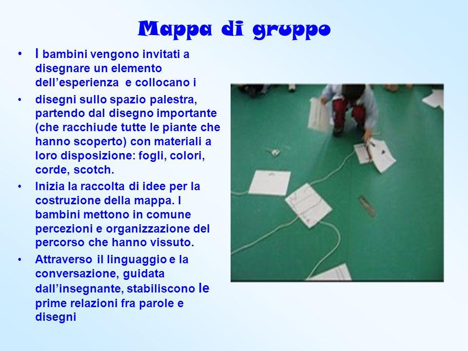 Mappa di gruppo I bambini vengono invitati a disegnare un elemento dell'esperienza e collocano i.