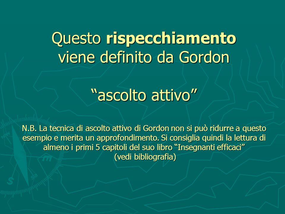 Questo rispecchiamento viene definito da Gordon ascolto attivo N. B