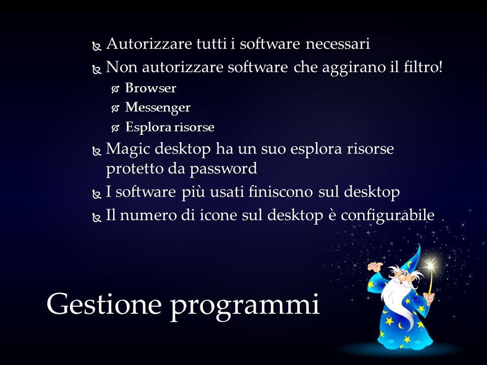 Gestione programmi Autorizzare tutti i software necessari