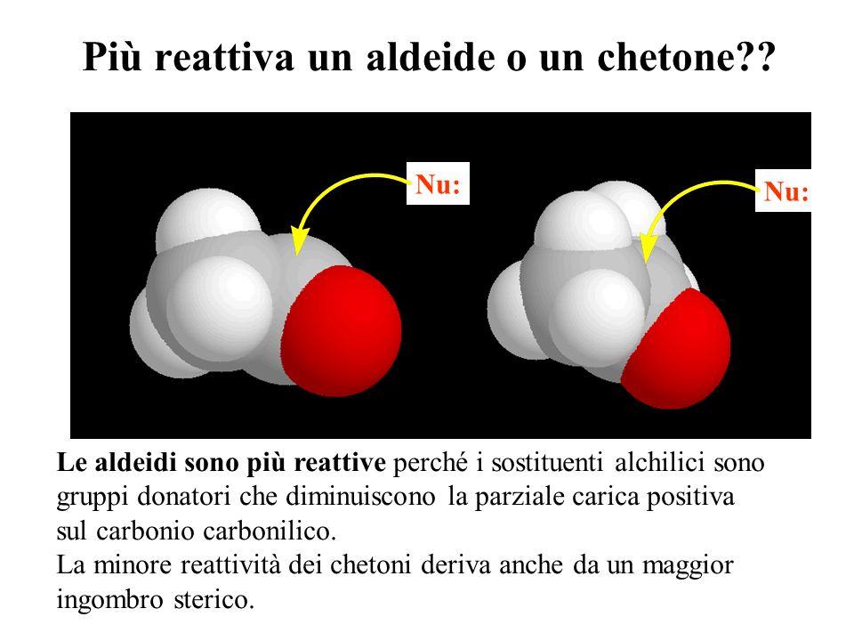 Più reattiva un aldeide o un chetone