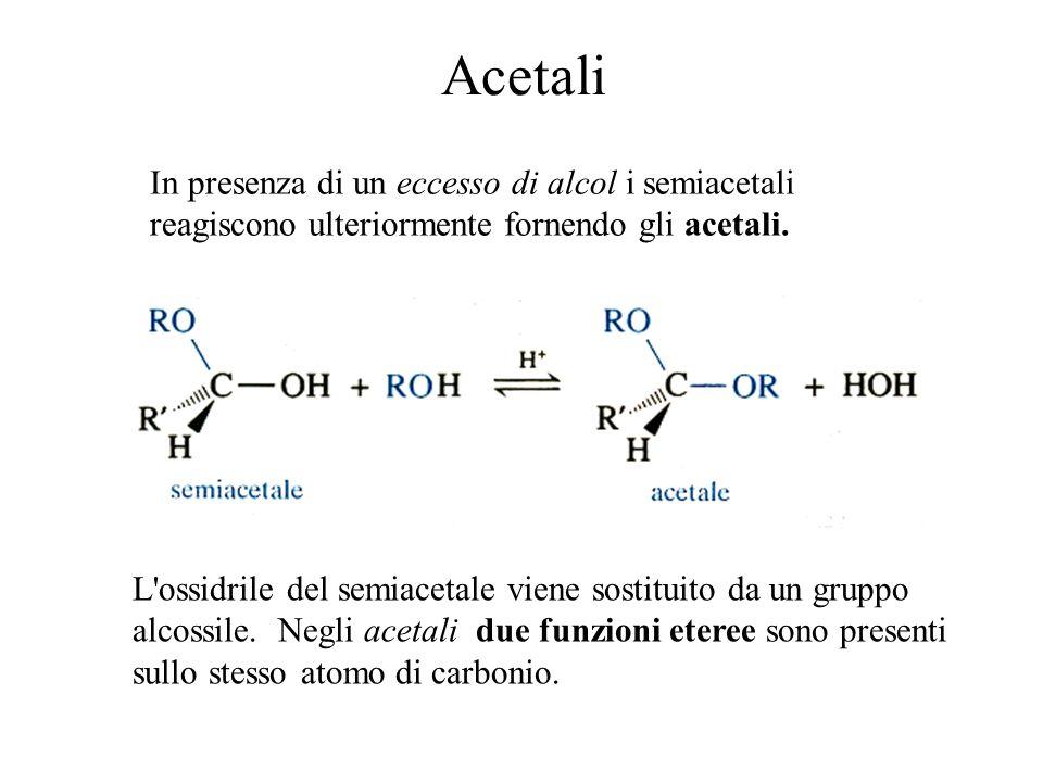 AcetaliIn presenza di un eccesso di alcol i semiacetali reagiscono ulteriormente fornendo gli acetali.