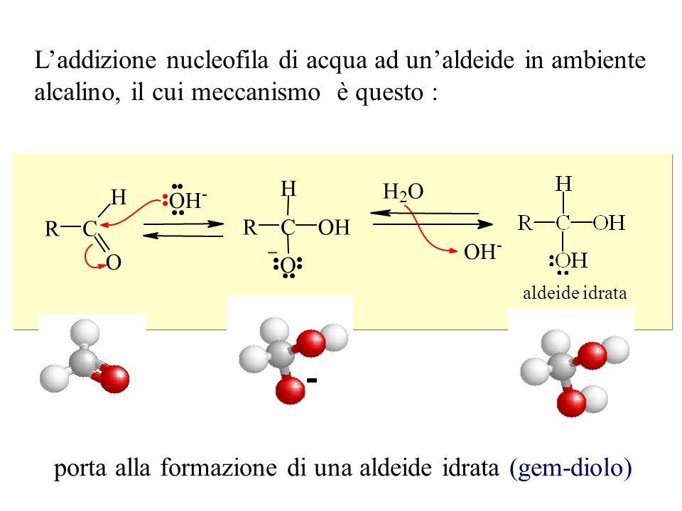 L'addizione nucleofila di acqua ad un'aldeide in ambiente