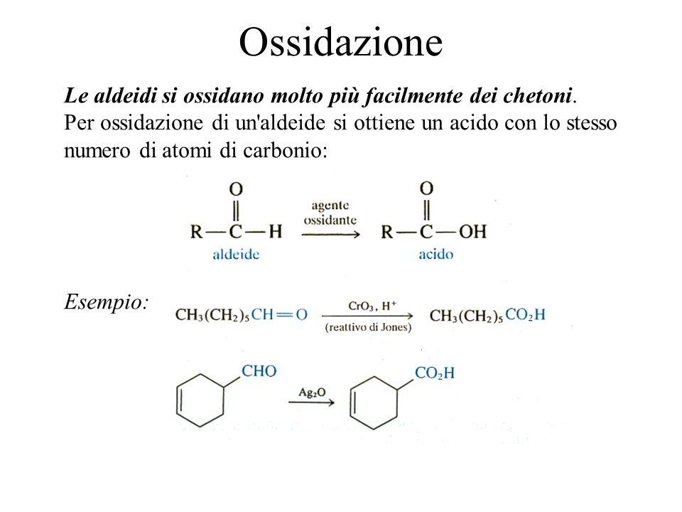 Ossidazione Le aldeidi si ossidano molto più facilmente dei chetoni.